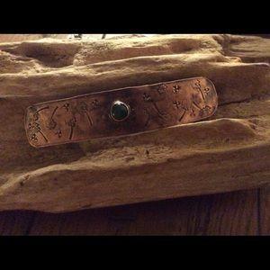 Hand made, Jade , Hand Stamped Barrette